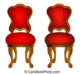 two red chairs with pattern