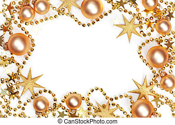 Abstract christmas background with golden baubles