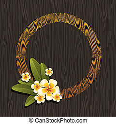 Vector illustration - Abstract round frame & tropical flowers frangipani on a black wood background