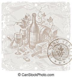 Vintage still life - wine and food - Vector vintage still...