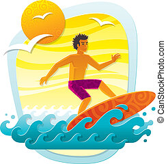 Vector illustration with surfer in tropical sea - imitation of applique from color paper shapes