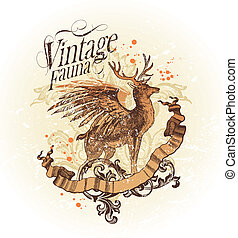 Vector illustration with vintage fauna
