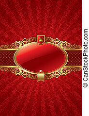 Vector ornate background with golden luxury framed label