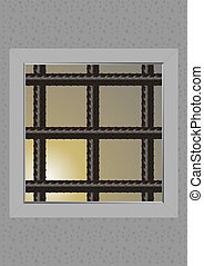 The prison window - Window with bars, the prisons of the...