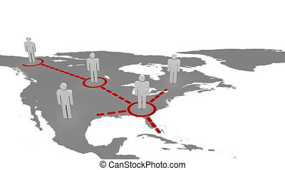 Connected 3d men on a map against a white background