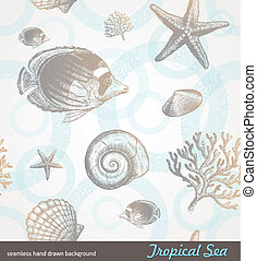 Vector seamless hand drawn background - underwater tropical fauna