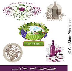 Vector set - wine and winemaking emblems and labels in...