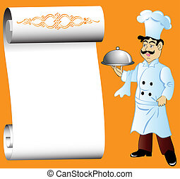 cook with dishes in hand and paper for menu