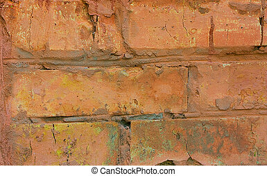 brick walls - fragment of an old red brick walls, close-up