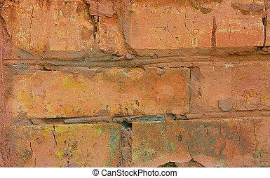 brick walls - fragment of an old red brick walls, close-up