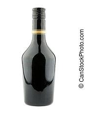Liqueur bottle - Black liqueur bottle isolated on a white...