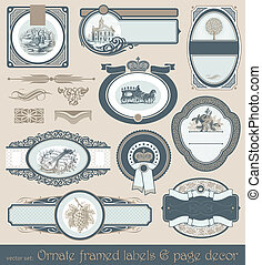 Vector set of vintage framed labels & page decor
