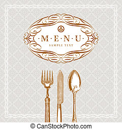 Vector template ornate  menu with vintage cutleries