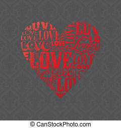 Vector Valentines card with heart