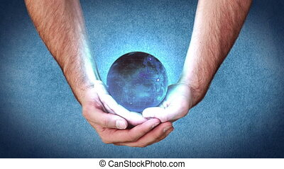 Hands holding a globe activating videos about videos