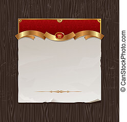 Vector vintage golden frame with paper banner on a black...