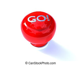 3d illustration of a red buzzer button GO written on a white...