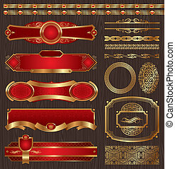 Vector set of framed golden labels - Vector set of vintage...