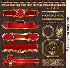 Vector set of framed golden labels