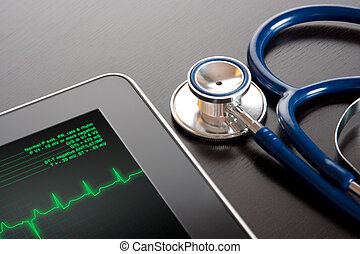 Medicine and new technology - Doctor workplace with tablet...