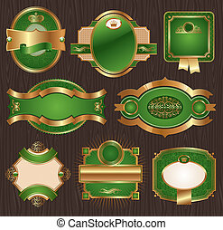 Luxury ornate framed labels - Vector vintage golden-green...
