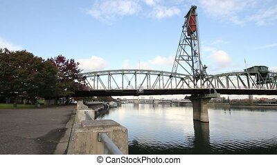Hawthorne Bridge in Portland Oregon - Hawthorne Bridge on...