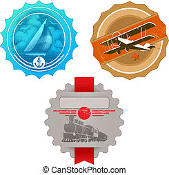 Vector vintage labels with retro transport - yacht, plane &...