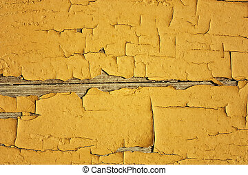 crannied old paint on boards, macro