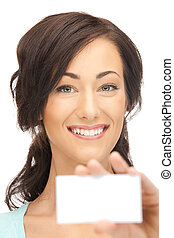 woman with business card - bright picture of confident woman...