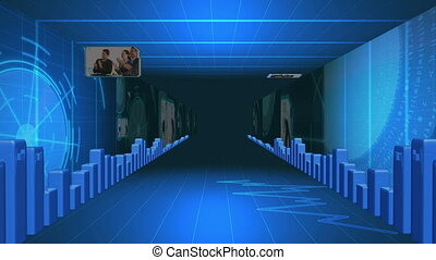 Corridor of statistical data with videos about business...