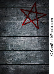 pentagram - pentacle on wooden grunge background - 3d...
