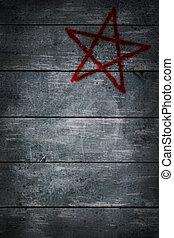 pentagram - pentacle on wooden grunge background - 3d...