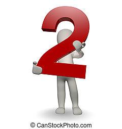 3D, human, charcter, segurando, Número, dois