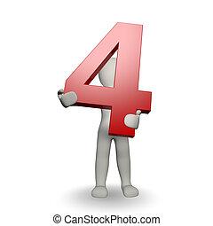 3D, human, charcter, segurando, Número, Quatro