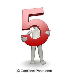 3D, human, charcter, segurando, Número, cinco