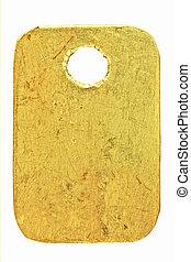 dorado, metal, etiqueta
