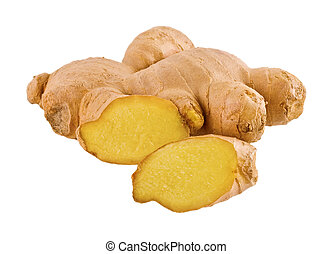ginger root with a piece cut off isolated on white