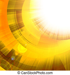 gold circles with bright rays of light - abstract background...