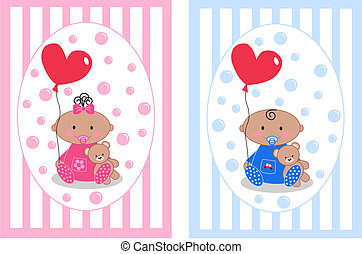 baby boy and baby girl - colored cute baby boy and baby girl...