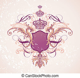 Vintage illustration with shield & crown