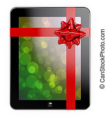 Tablet PC gift - 3d render of tablet PC with red ribbon and...