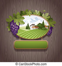 Vintage signboard with grapes and image of country landscape...