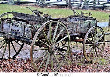 Old wooden wagon - An old wooden wagon in a rural setting