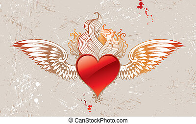 Vintage winged vector heart