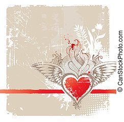 Vintage winged heart - vector illustration