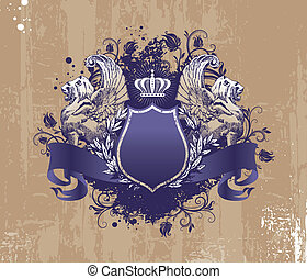 Wingget lions and crown on grunge background