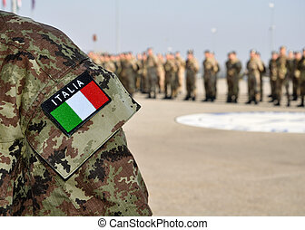 italian armed forces uniform with tricolore at a parade -...