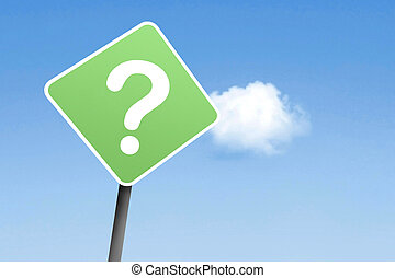 Questionmark on sign