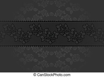 Lace Rose dark gray background, vector