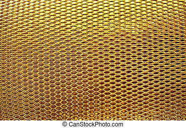 metal mesh grate gold background